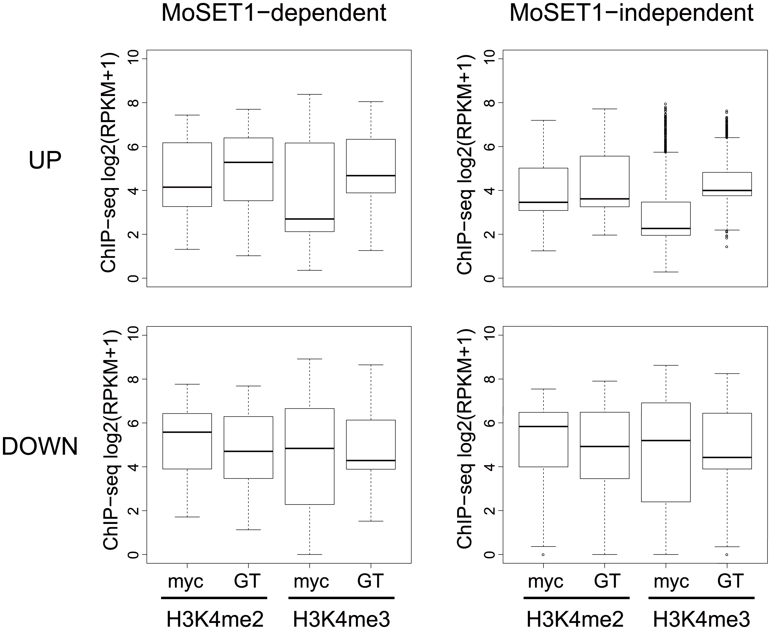 Comparisons of H3K4 methylation dynamics during germination tube formation between MoSET1-dependent and -independent gene sets.