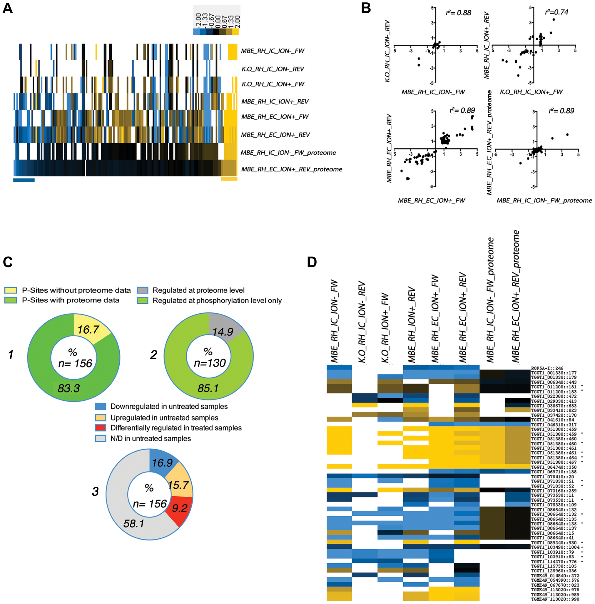 Analysis of differential phosphorylation site usage and protein abundance in WT and TgCDPK3 mutant parasites (see <em class=&quot;ref&quot;><b>Figure 1</b></em> and <em class=&quot;ref&quot;>Figure S1</em> for a description of experimental conditions).