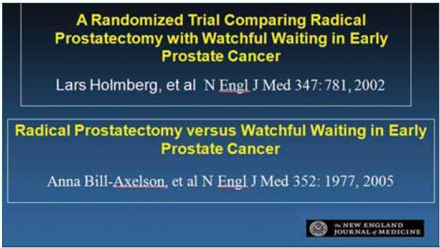Citace prvních publikací na úrovni medicíny založené na důkazech prokazujících jednoznačný benefit radikální prostatektomie.