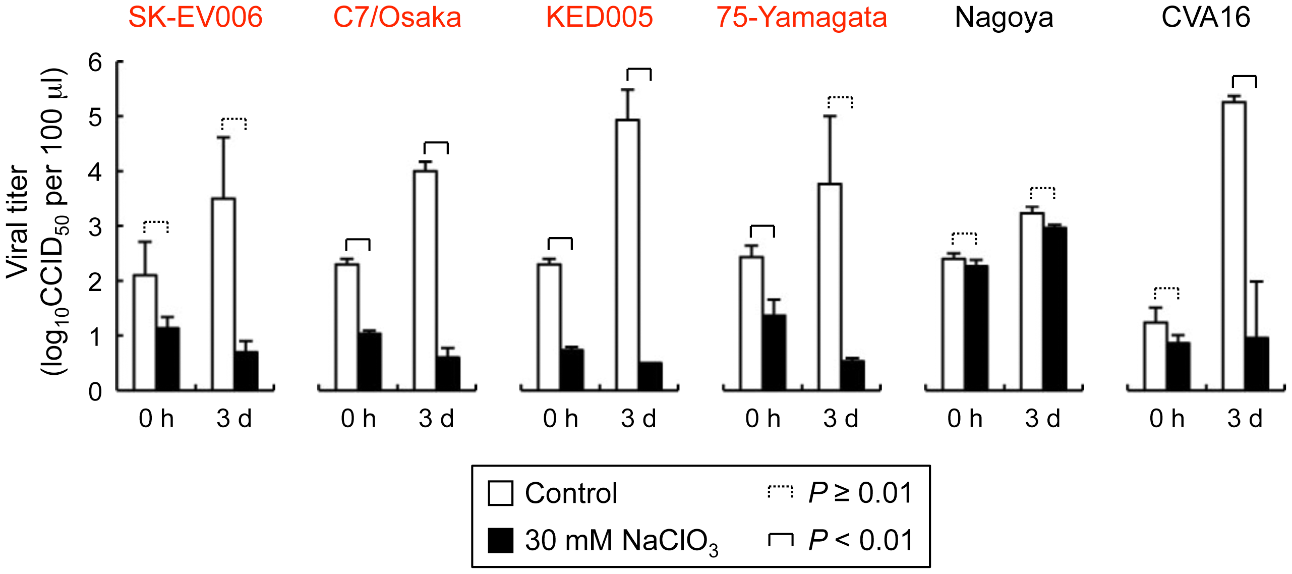 Replication of five EV71 strains and coxsackievirus A16 (CVA16) in Jurkat T cells in the presence of sodium chlorate.
