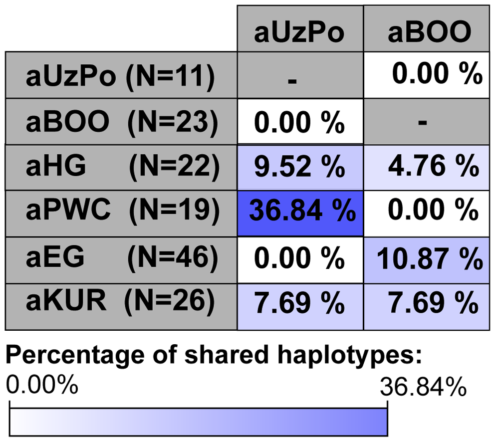 Percentages of haplotypes from aUzPo and aBOO matched in selected ancient Eurasian populations.