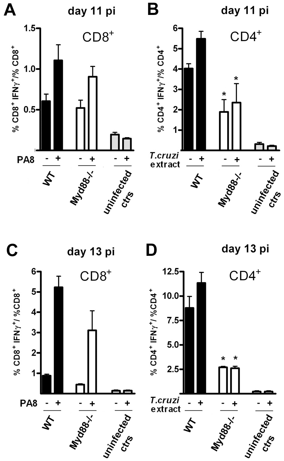 Preserved IFN-γ production by CD8<sup>+</sup> T cells but impaired IFN-γ CD4<sup>+</sup> response in <i>Myd88<sup>−/−</sup></i> mice at days 11 and 13 pi.