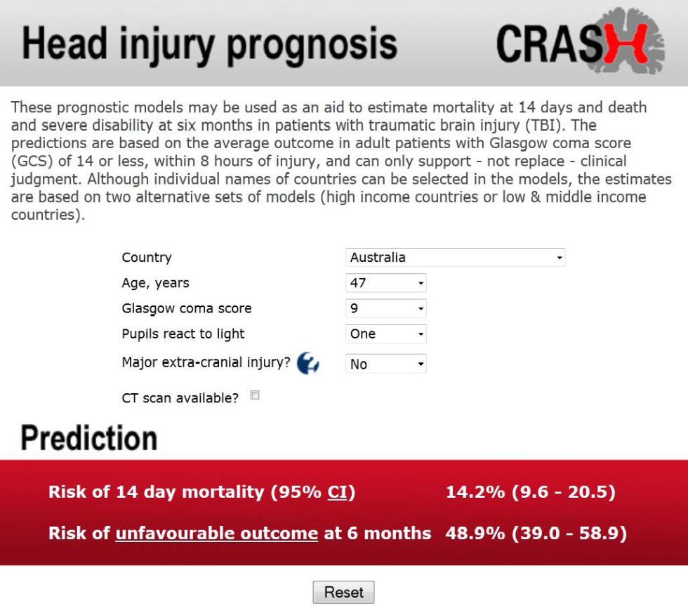 "Web tool for prognosis of patients with head injury (CRASH trial) (reproduced from Perel et al <em class=""ref"">[7]</em> with permission)."