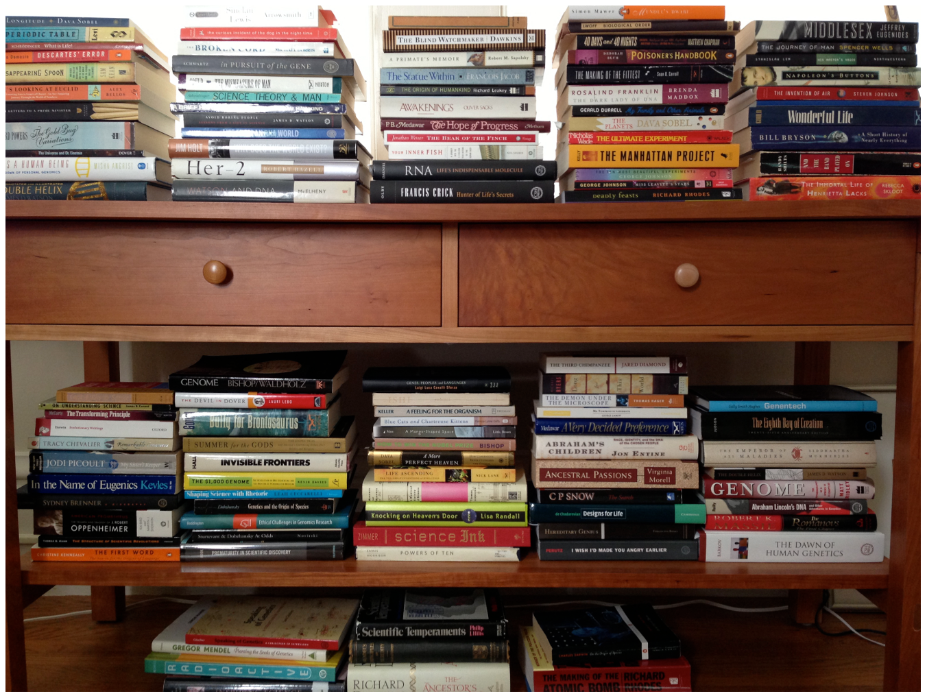 Jane Gitschier's bookshelf.