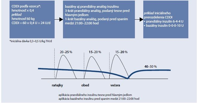 Schéma 5.3 | Prerozdelenie dávok pri podávaní bazálneho aj prandiálneho analógu inzulínu