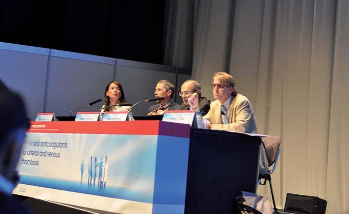 Panelové diskuse o roli dabigatranu v indikacích arteriální i žilní trombózy se zúčastnili (zleva) S. Middeldorpová, S. Connoly, S. Schulman a M. Crijns. Foto: ZN
