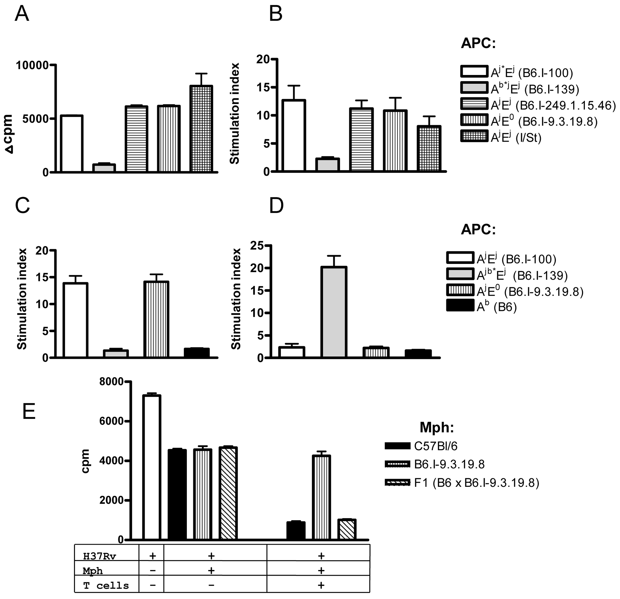 CD4<sup>+</sup> T cells recognize mycobacterial antigens in the context of H2-A molecule.