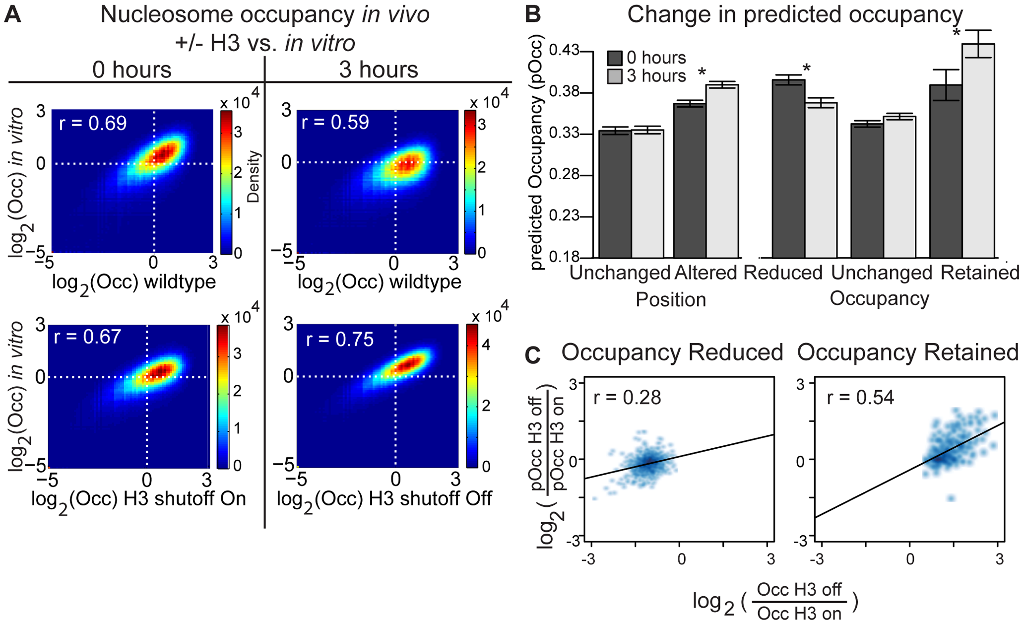 DNA sequence contributes to nucleosome occupancy changes following H3 depletion.