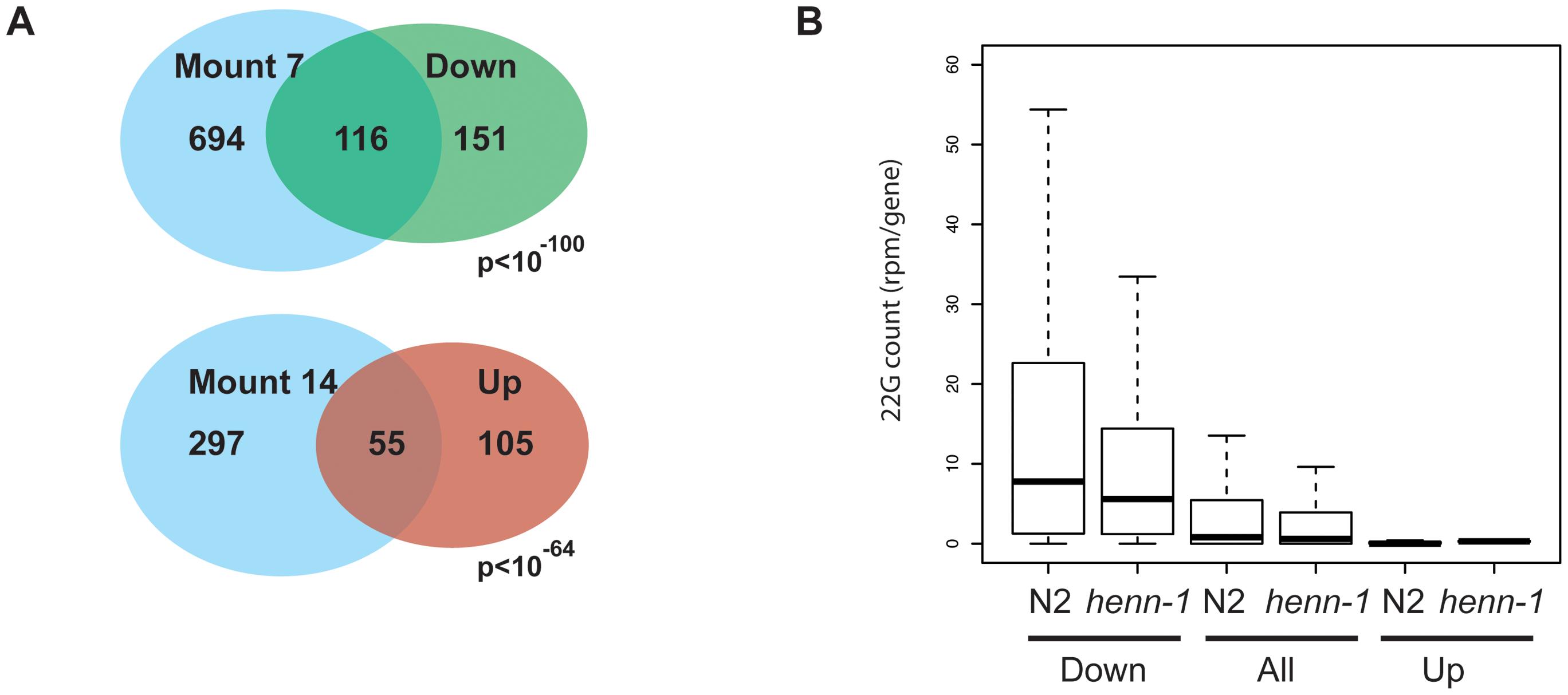Gene expression analysis of <i>henn-1</i> mutants.