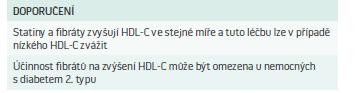 Doporučení pro farmakoterapii nízké hladiny HDL-C
