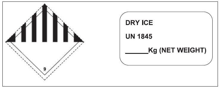 Značeni zásilky informující o přepravě suchého ledu Fig. 3. Shipment labeling information on transportation of dry ice