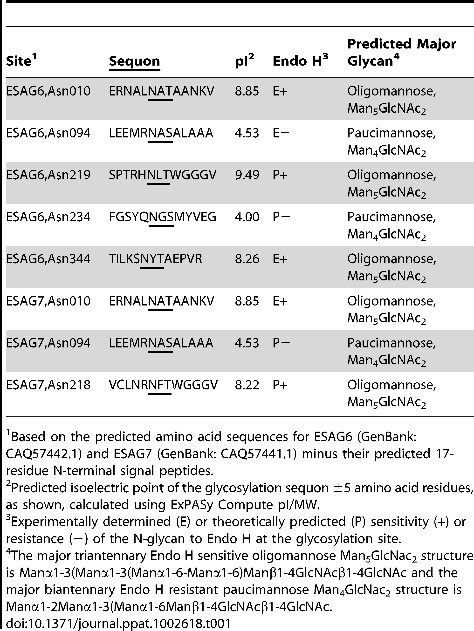 Experimental and theoretical occupancy of TfR N-glycosylation sites.