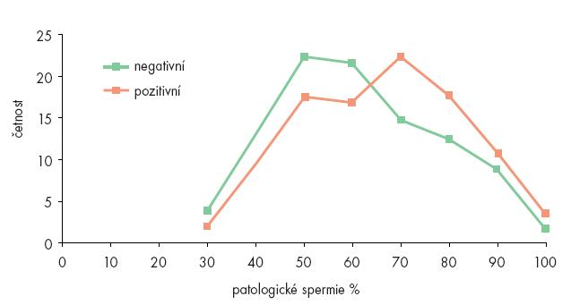 Četnost patologických spermií v ejakulátech na chlamydie pozitivních a na negativních.