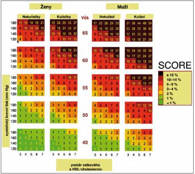 Desetileté riziko KV onemocnění v české populaci, tabulka založená na poměru celkového a HDL-cholesterolu. Tabulky SCORE se používají pouze pro primární prevenci, tj. u osob bez manifestního kardiovaskulárního nebo ledvinného onemocnění a bez diabetes mellitus. Hodnoty absolutního rizika KVO jsou vyšší než hodnoty odečtené z tabulky SCORE: • u osob, které se věkem přibližují vyšší věkové kategorii, • u asymptomatických osob s preklinickými známkami aterosklerózy (zjištěnými při sonografickém vyšetření nebo při nálezu kalcifikací při stanovení kalciového skóre pomocí CT), • u osob s pozitivní rodinnou anamnézou KVO (do 55 let u mužů, do 65 let u žen), • u osob s nízkou koncentrací HDL-cholesterolu (pod 1 mmol/l u mužů, pod 1,2 mmol/l u žen), zvýšenou koncentrací triglyceridů (nad 1,7 mmol/l), • u osob s porušenou glukózovou tolerancí (glykemie nalačno pod 7,0 mmol/l, při OGTT za 2 hod 7,8–11,0 mmol/l), • u obézních nebo fyzicky inaktivních osob.