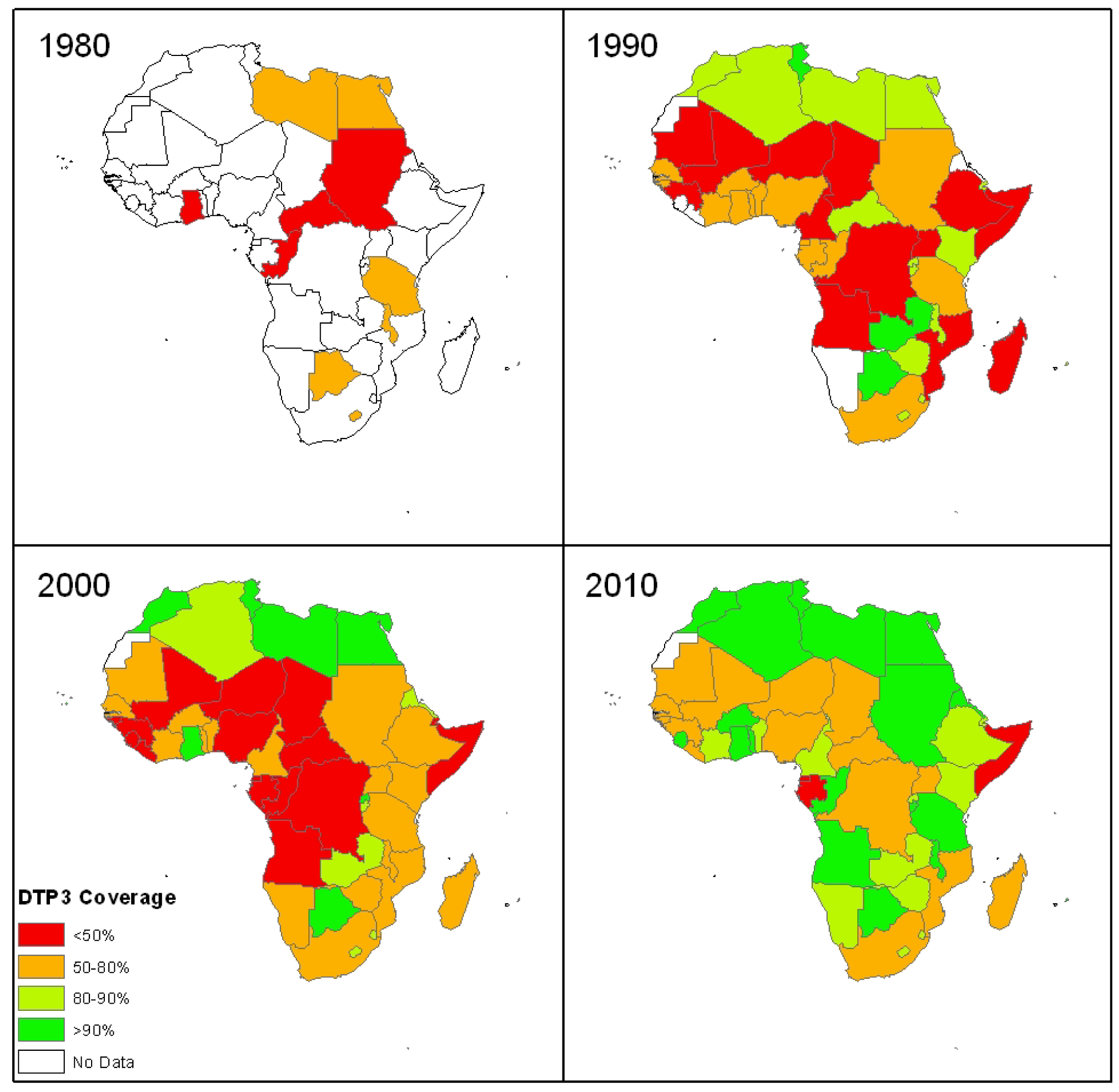 Colour-coded maps of Africa showing national coverage with the third dose of the diphtheria-tetanus-pertussis vaccine (DTP3) at the end of each decade since 1974.