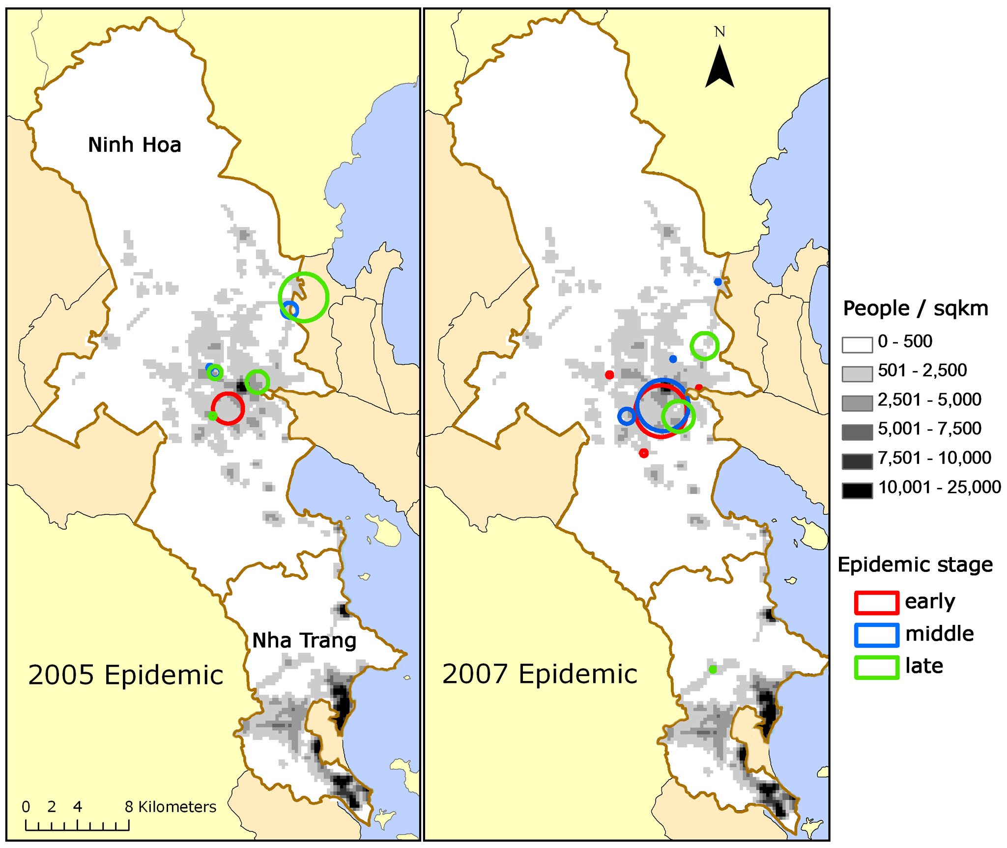 Clusters of dengue fever cases.