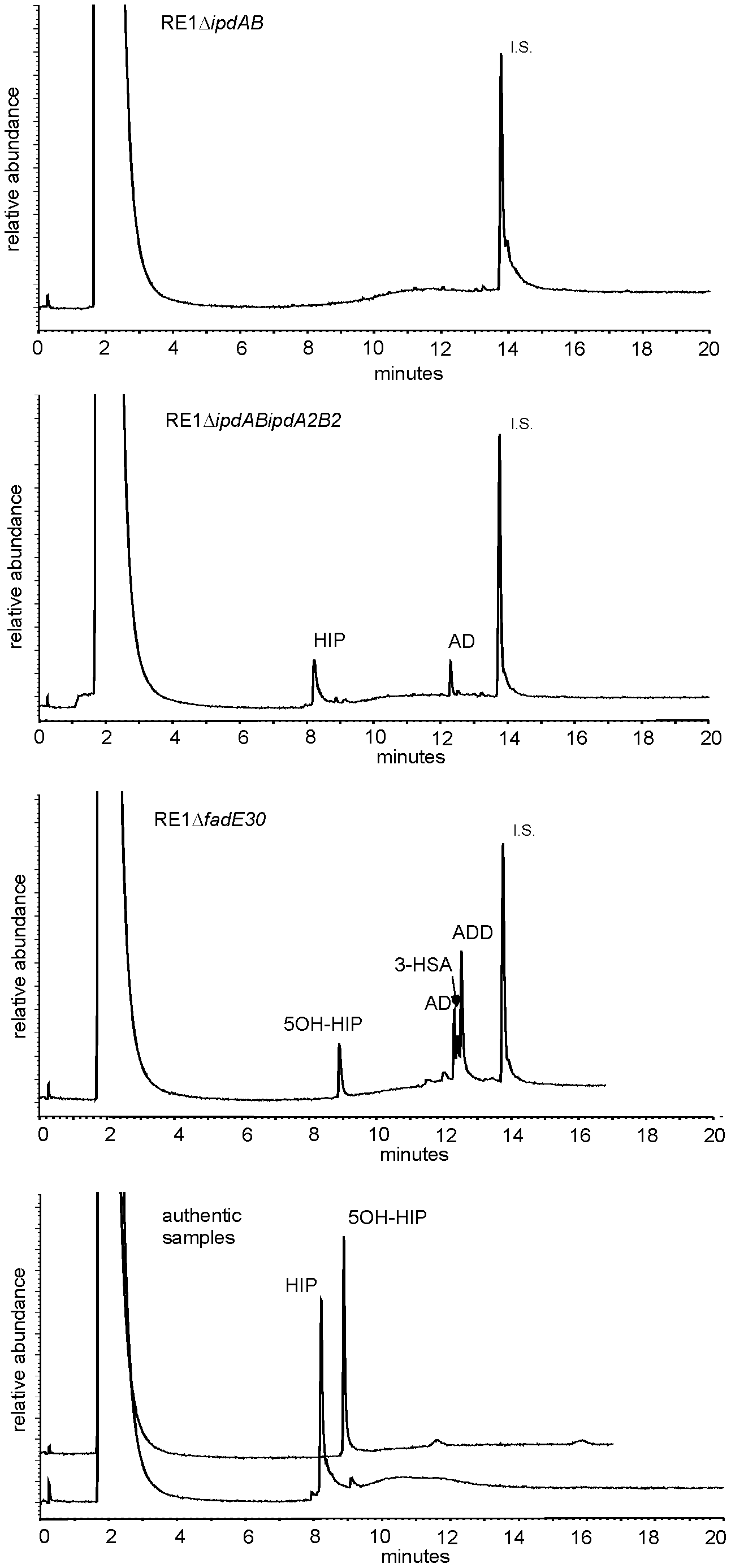 Gas chromatography profiles showing the formation of methylhexahydroindanone propionate intermediates during whole cell biotransformations of 4-androstene-3,17-dione (AD) by mutant strains of <i>R. equi</i> RE1 at T=120 hours.