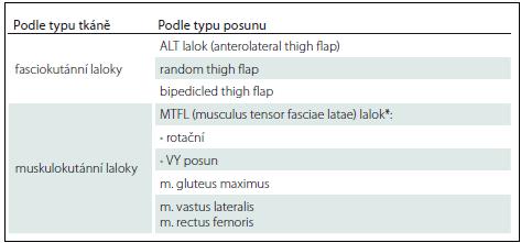 Přehled lalokových plastik (trochanterický dekubitus).