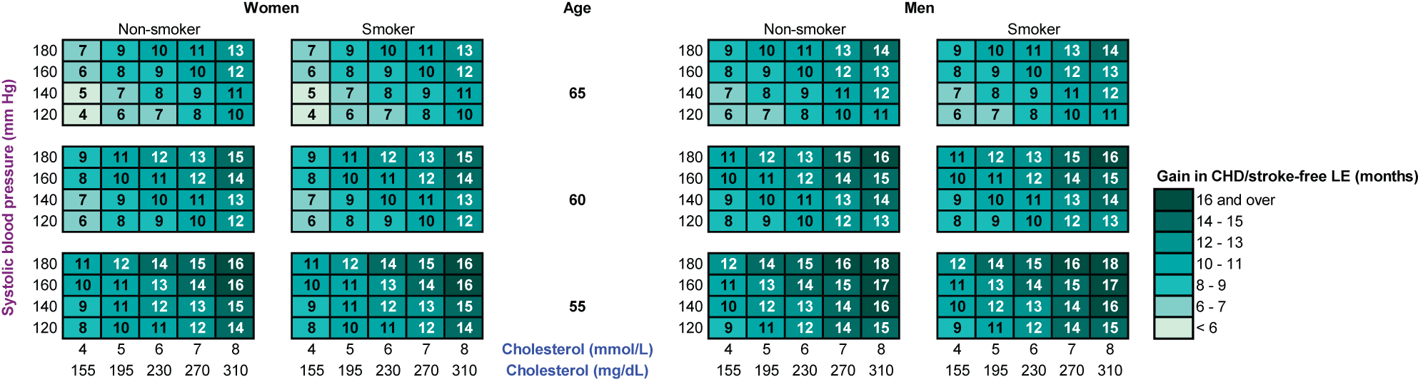 The gain in CHD/stroke-free life expectancy (in months) with statin therapy, calculated with the RISC model.