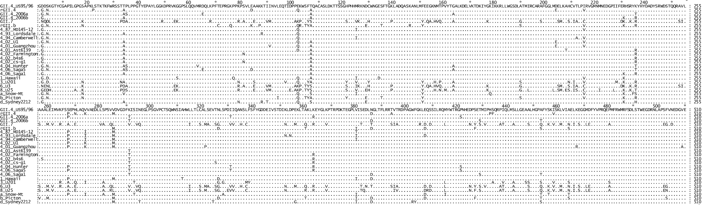 Comparison of the amino acid sequence of the six NoV RdRps used in this study to other representative GII strains.