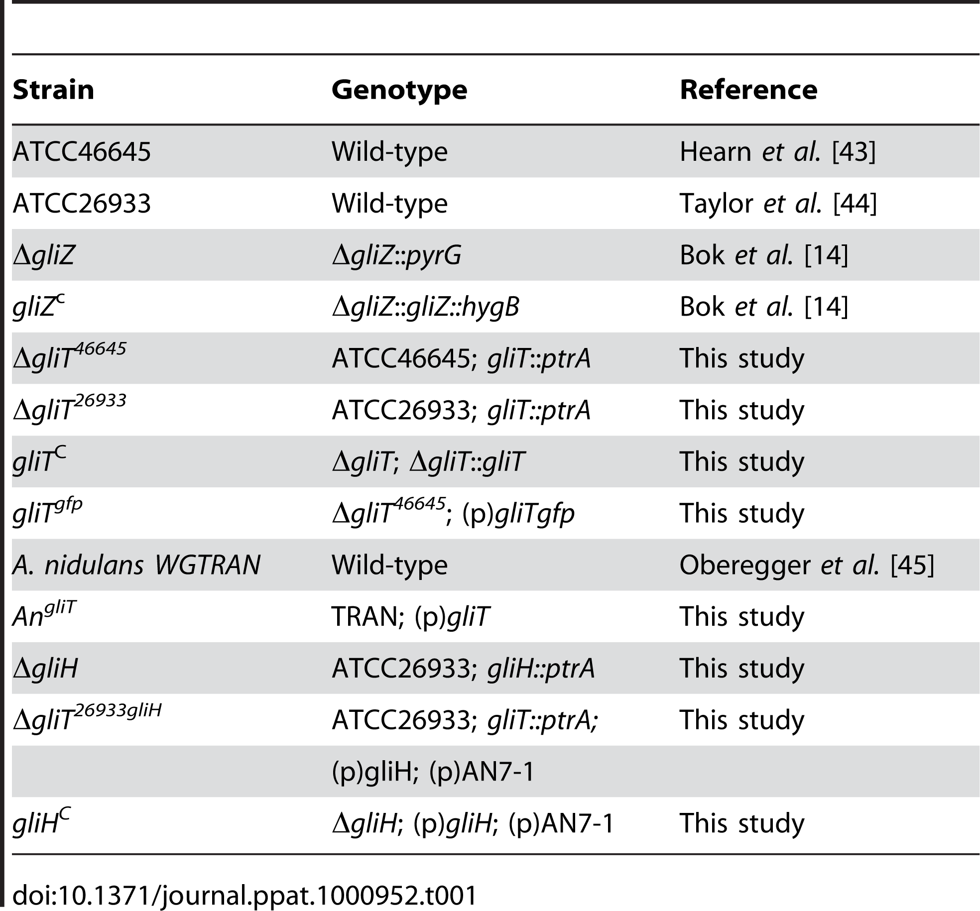 <i>A. fumigatus</i> and <i>A. nidulans</i> strains used in this study.