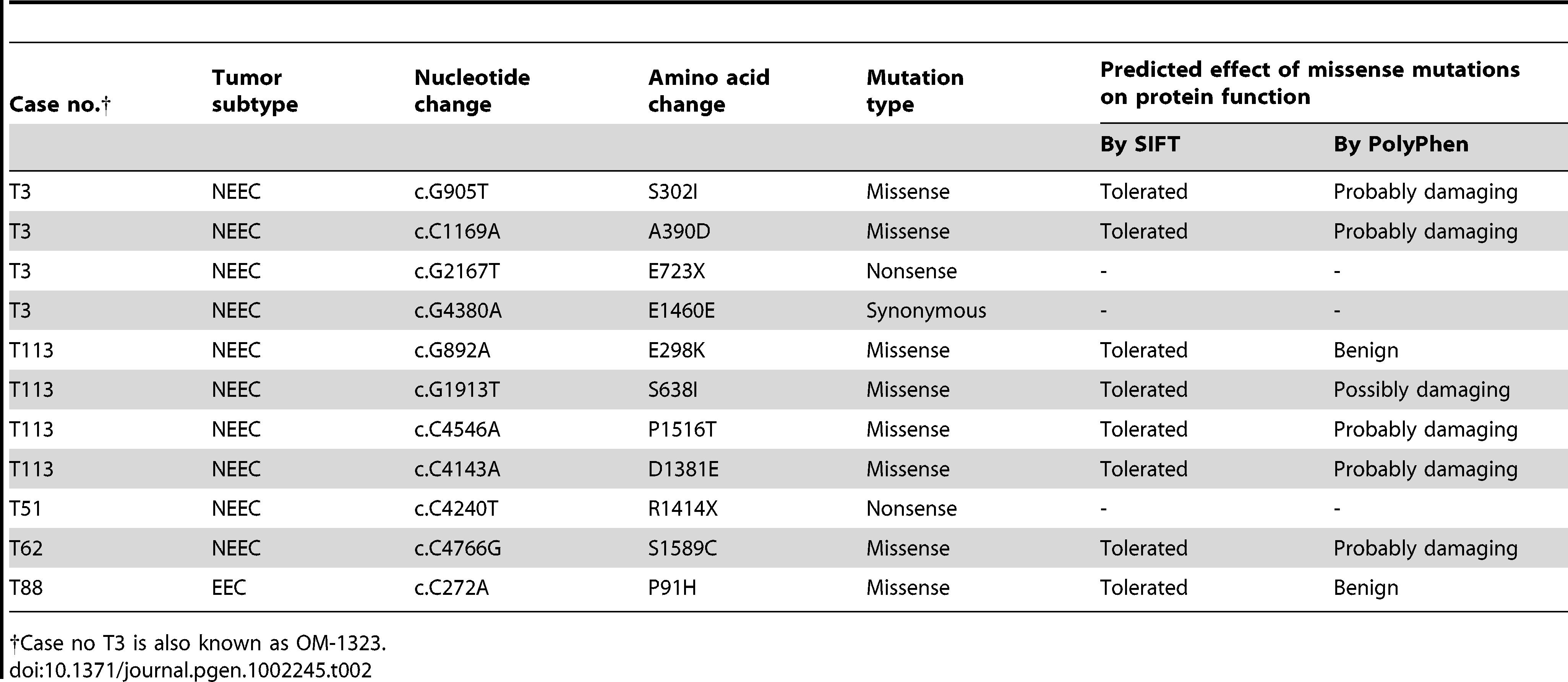 Somatic mutations of <i>ATAD5</i> were identified in primary human endometrial tumors.