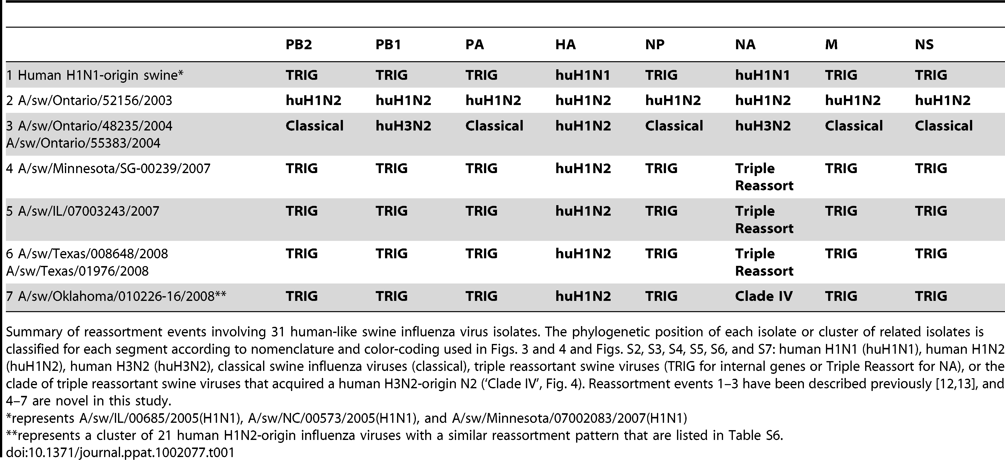Whole-genome reassortment of human-origin swine influenza viruses.