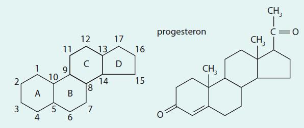 Chemický vzorec progesteronu