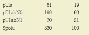Distribúcia 330 karcinómov prsníka do 10 mm podľa pTNM-klasifikácie.