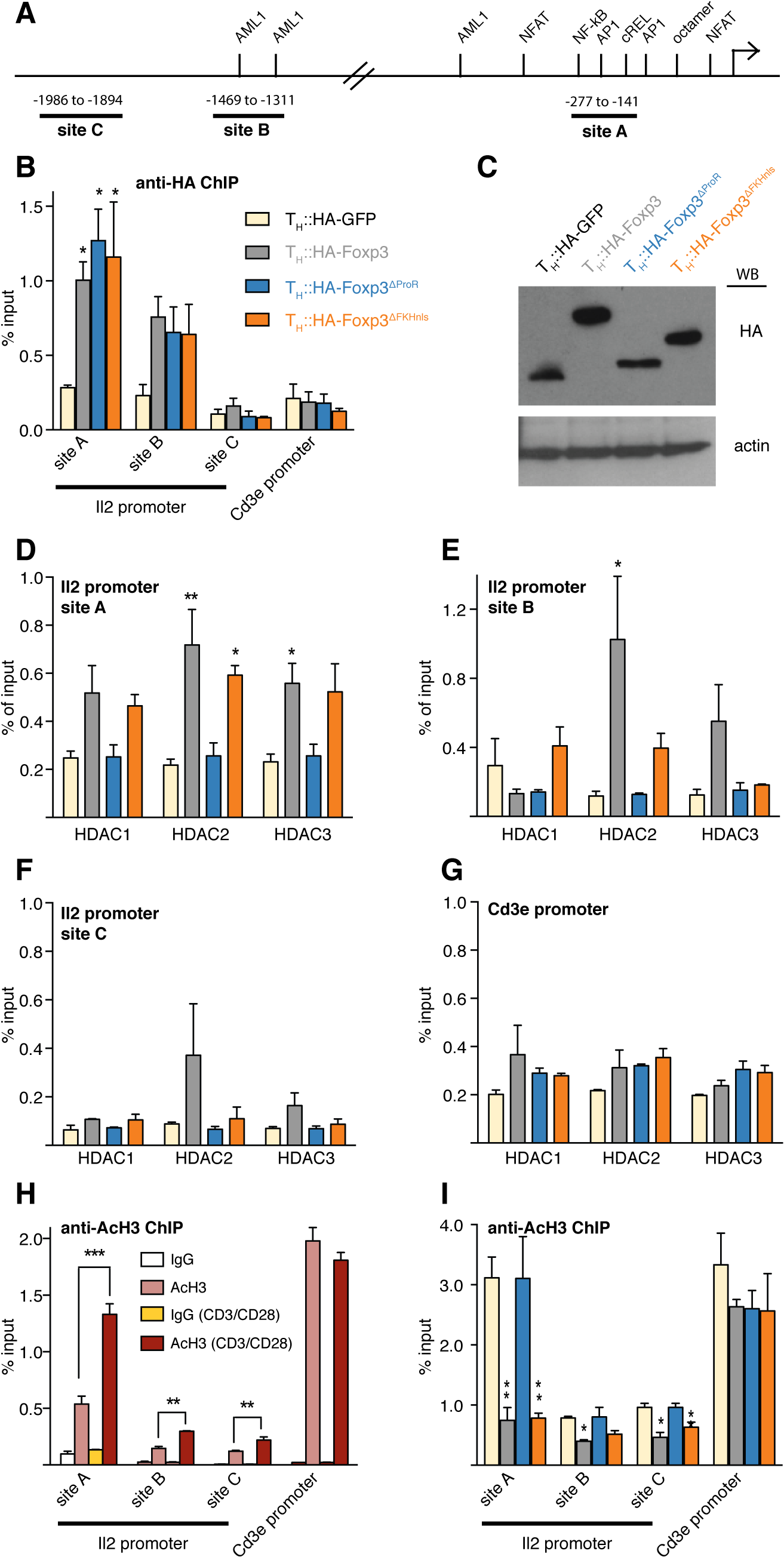 Foxp3 recruits class I HDACs to modulate histone acetylation of the <i>Il2</i> promoter.