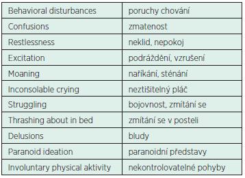 Termíny obvykle charakterizující ED a jejich české ekvivalenty