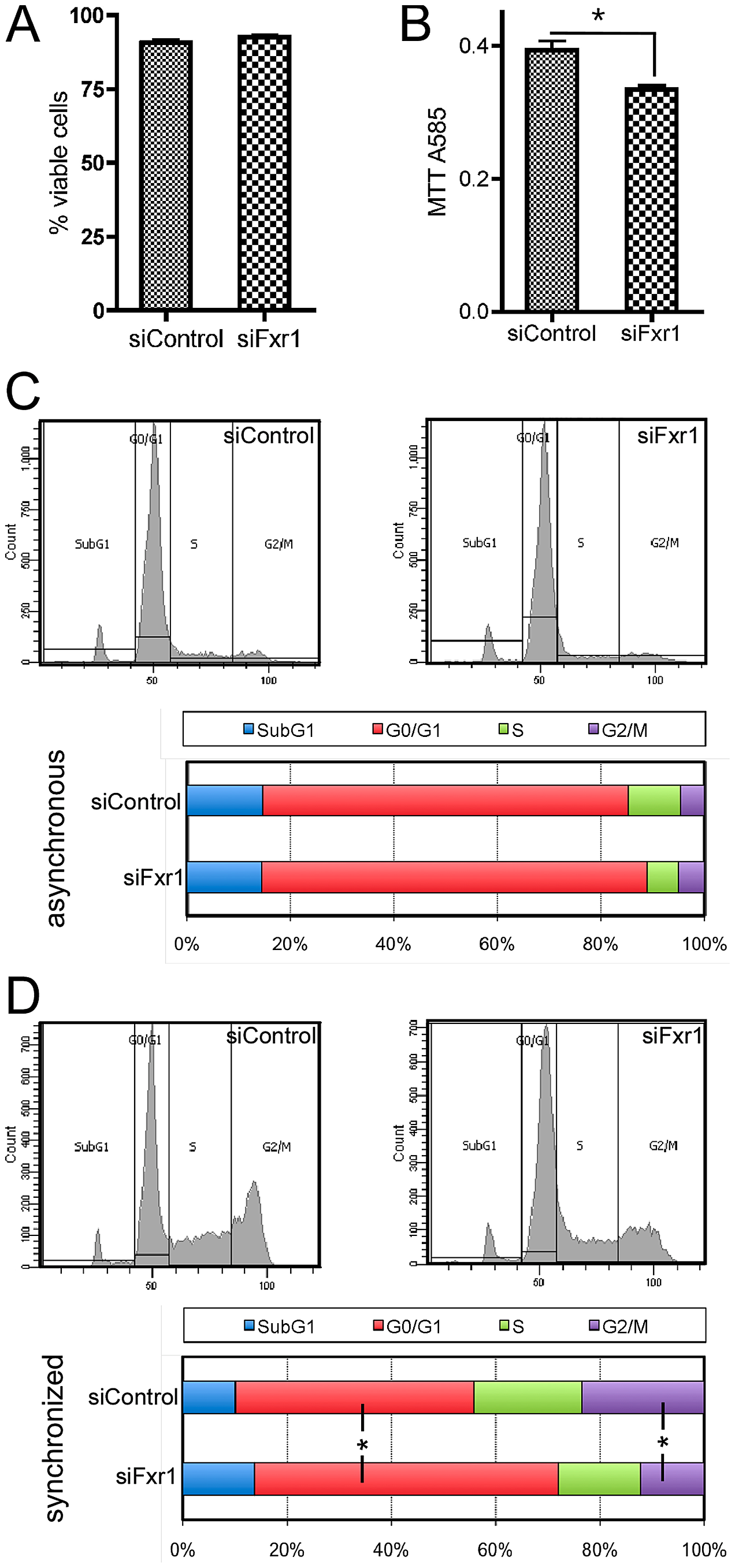 <i>Fxr1</i>-depletion does not impair myoblasts viability but specifically induces accumulation in G0/G1 phase to the detriment of mitosis.