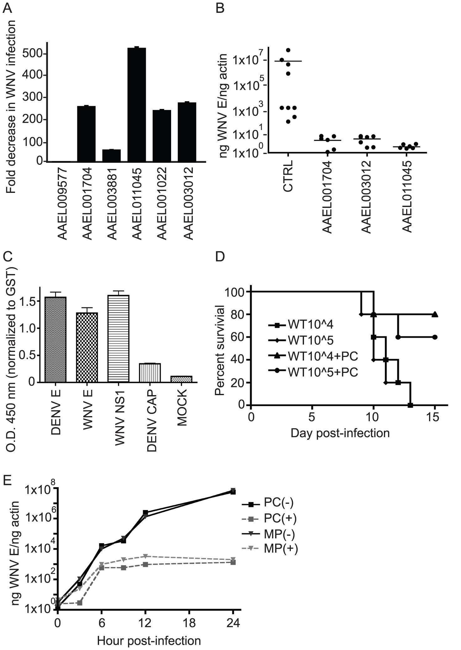 Overexpression of virally down-regulated genes impairs WNV infectivity.