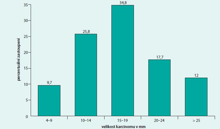 Percentuální (%) zastoupení diagnostikovaných karcinomů podle jejich velikosti