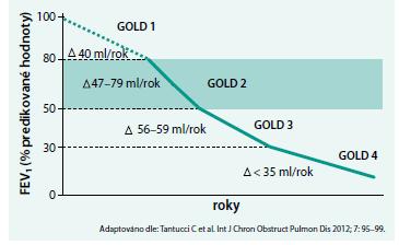 Roční míra poklesu parametru FEV1 podle stupně obstrukce dýchacích cest u pacientů s CHOPN, plicní funkce klesají nejrychleji ve stadiu GOLD 2