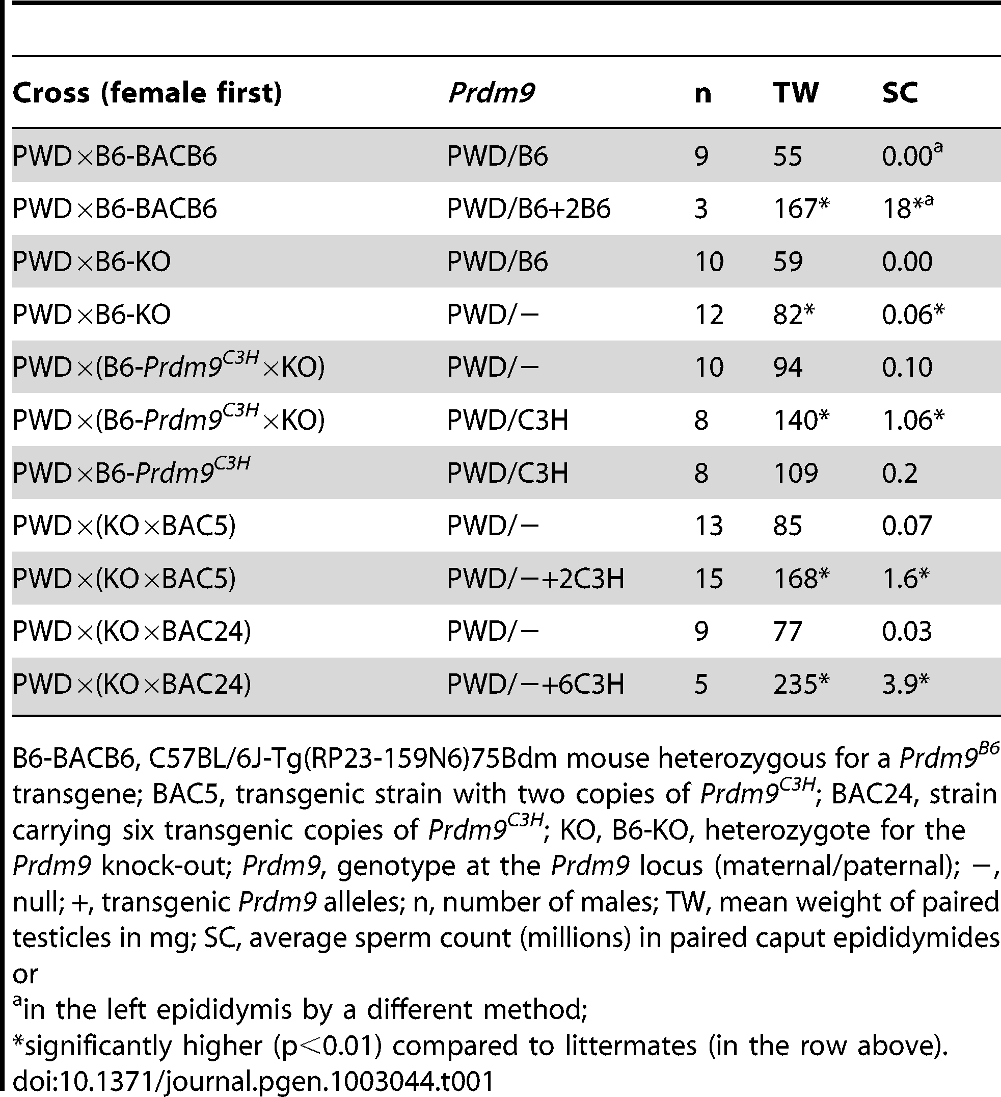 The effect of <i>Prdm9</i> dosage on hybrid sterility.
