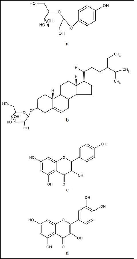 Strukturní vzorce obsahových látek z extraktů rodu Bergenia: a – arbutin, b – β-sitosterol-D-glukosid, c – kempferol, d – kvercetin<sup>5, 17, 18, 58, 59)</sup>