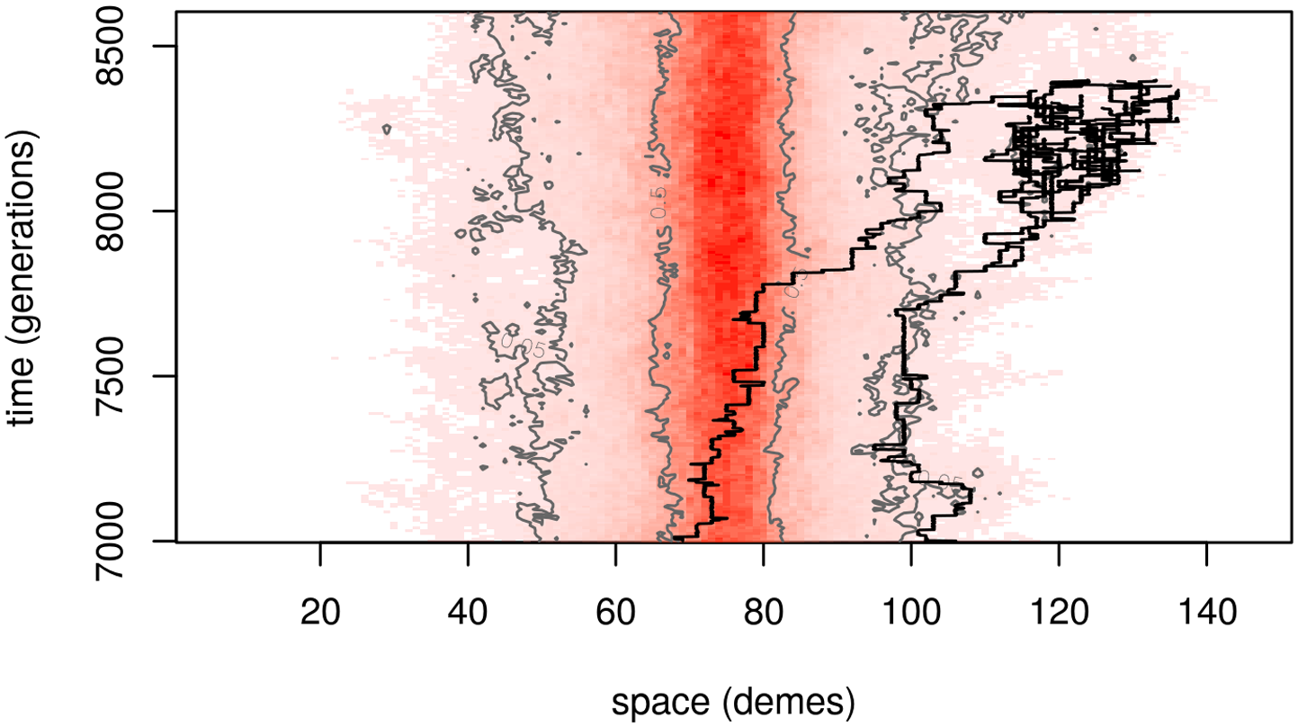 """A segment of the temporal dynamics of the same simulation as <em class=""""ref"""">Fig 1B</em>."""