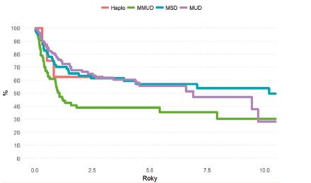 Pravděpodobnost OS pacientů s AML po HCT v CR podle typu dárce