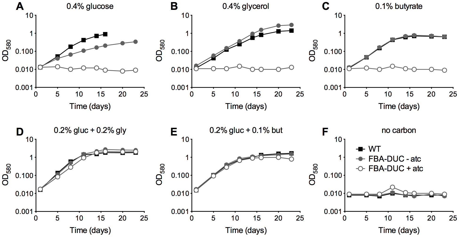 FBA depletion inhibits growth of <i>Mtb</i> in single carbon sources, but not in the presence of both a glycolytic and a gluconeogenic carbon source.