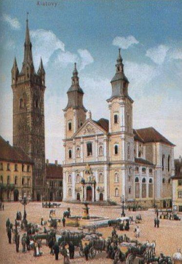 Náměstí v Klatovech v polovině 19. století.