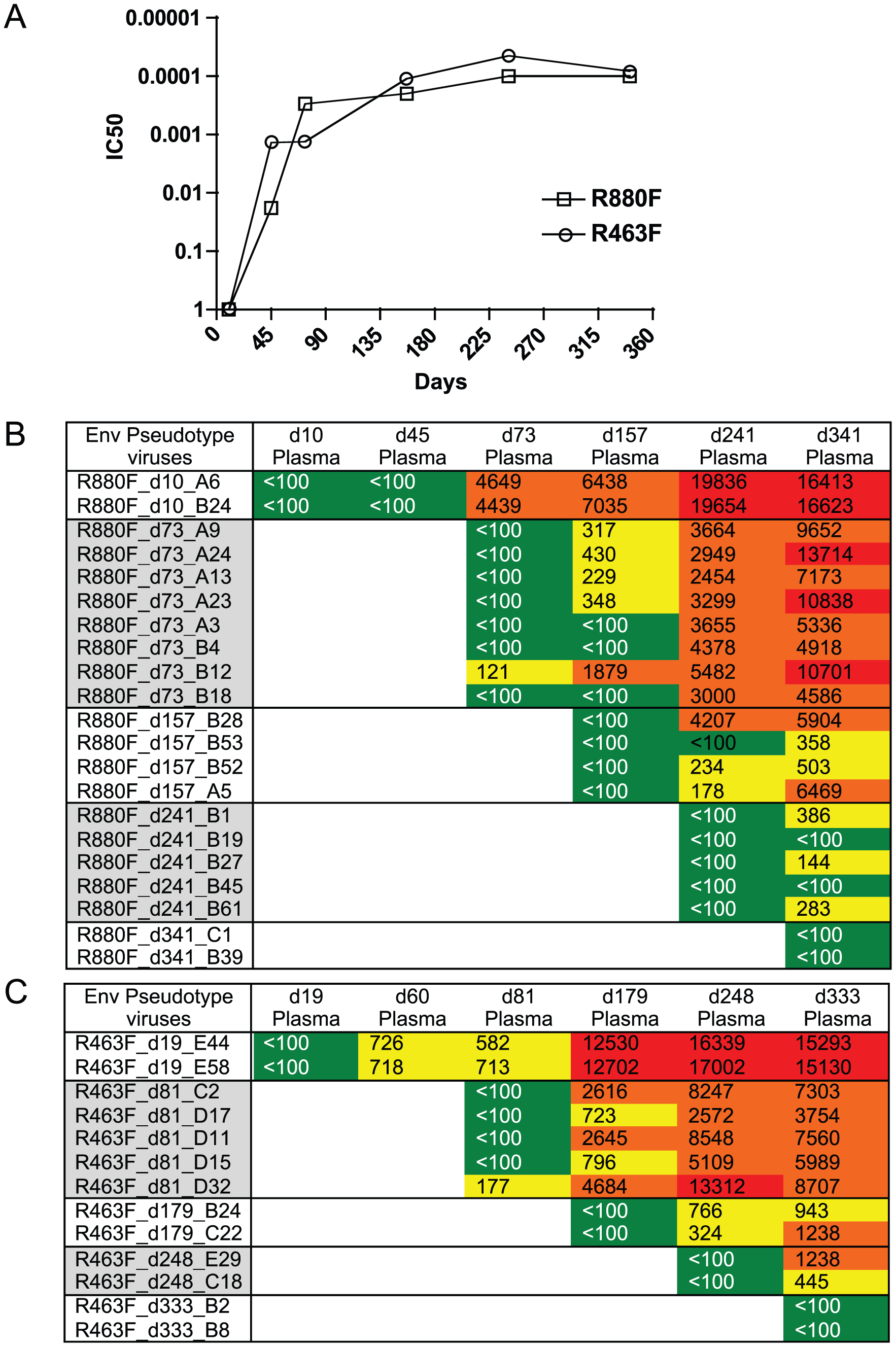 Longitudinal autologous neutralizing antibody IC50 titer during the first year of infection.