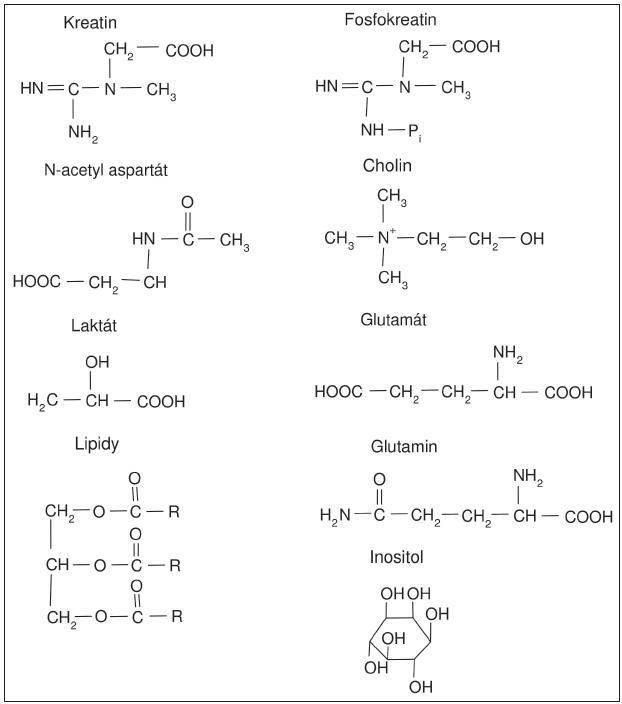 Obr. 3. Strukturní vzorce nejvýraznějších metabolitů v 1H MR spektru.