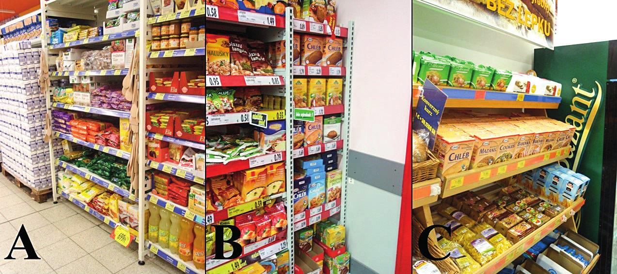 """V časti obchodov sú bezlepkové výrobky usporiadané A: Komárom, Maďarsko. Inde dochádza k pomiešaniu bezlepkového sortimentu s odlišnými typmi diét B: Komárno, Slovenská republika a podobne na C: a to aj napriek jednoznačne hore viditeľného označenia """"Bez lepku"""", Komárno, Slovenská republika"""