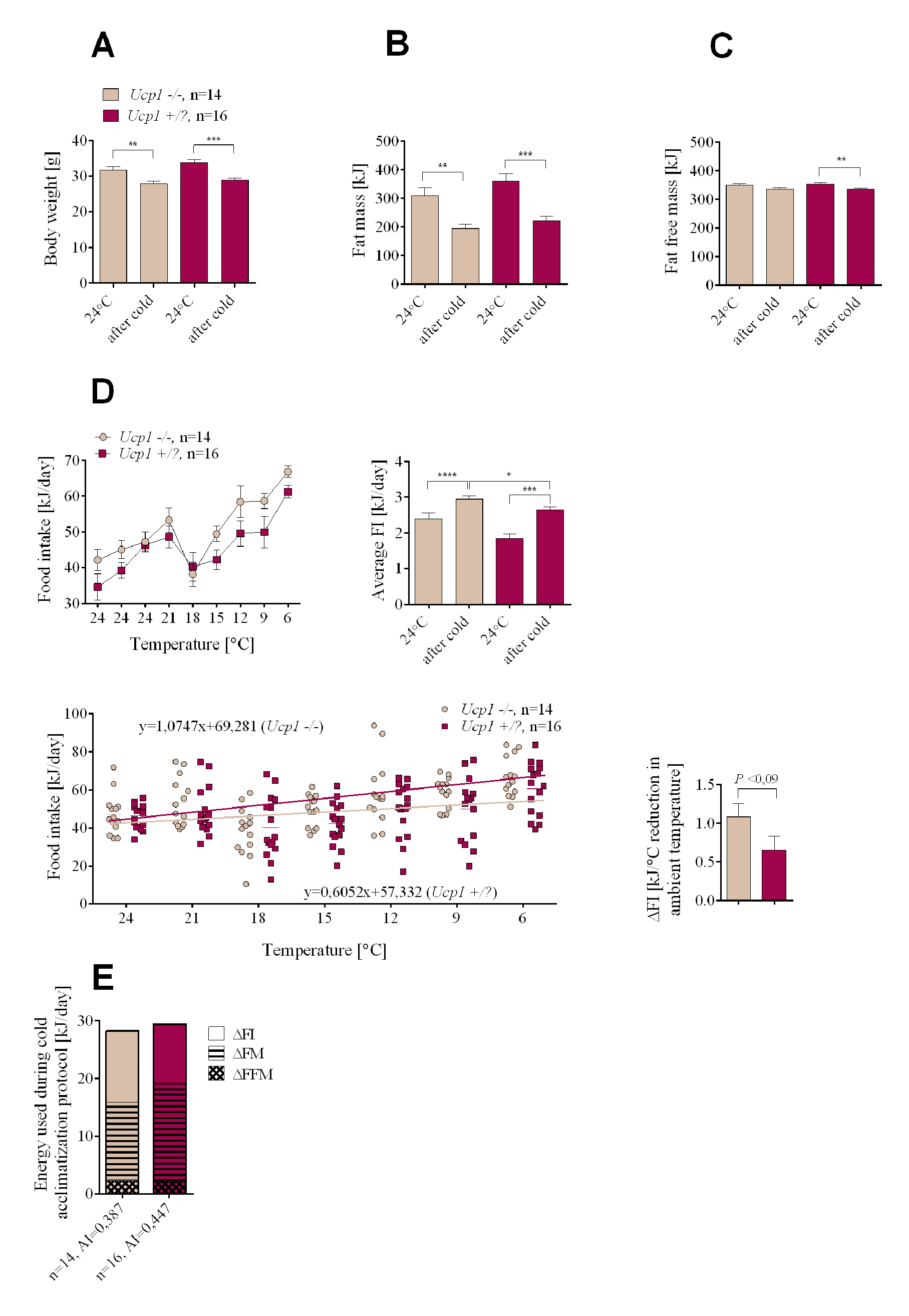 Changes in endogenous substrate utilization and food intake in cold-exposed <i>Ucp1-/-</i> and <i>Ucp1+/</i>? mice with DIO.