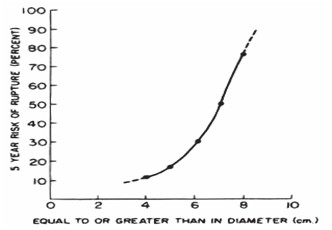Vztah mezi velikostí AAA a rizikem ruptury [6]