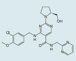 Chemická struktura avanafilu.