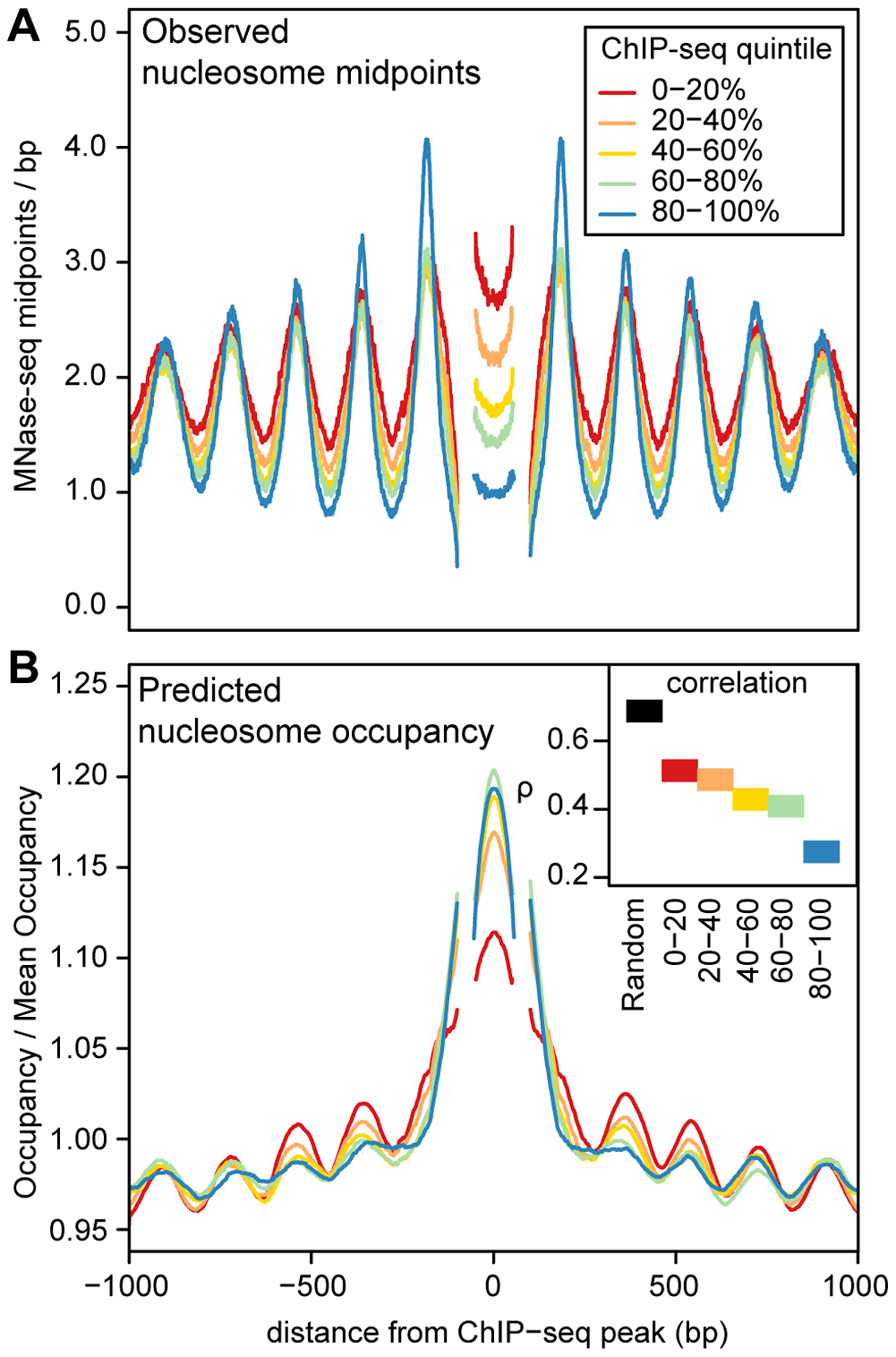 Predicted and observed nucleosome occupancy around ChIP–seq peaks.