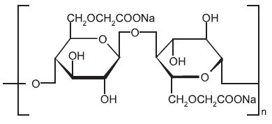 Strukturní vzorec sodné soli karmelosy