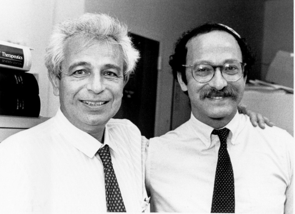 Fig. 3 Prof Simon Bursztein with Prof Pierre Singer (on the right) in the late 80´